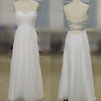 A-line Criss Cross Straps  Sweetheart Long Chiffon white Prom Dresses, Evening Dresses, Wedding Party Dresses, Evening Gown
