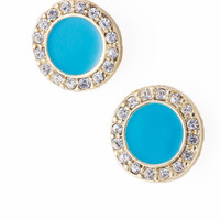 Round Turquoise Stud Earrings with Crystals