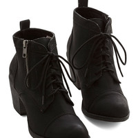 ModCloth Military Press Playlist Bootie in Black
