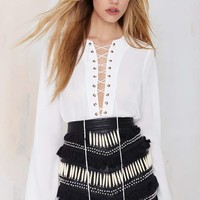 Nasty Gal Livin' After Midnight Lace-Up Blouse
