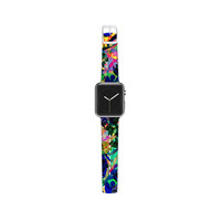 "Gabriela Fuente ""Flora Splash"" Dark Rainbow Apple Watch Strap"