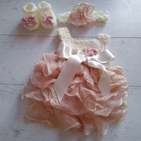 Baby Girl Dress Headband shoes in ivory and Dusty pink , Newborn take home outfit, ruffle baby dress, Crochet baby dress, handmade baby