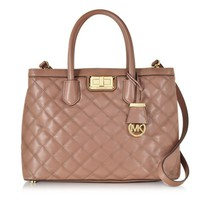 Michael Kors Designer Handbags Hannah Large Dusty Rose Quilted Leather Satchel Bag