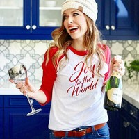 New arrival Joy to the word t-shirt Three-Quarter shirt slogan red Christmas red sleeve cotton soft tee festival party girl top