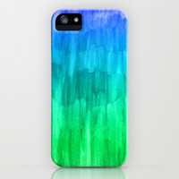 Turquoise, Lime & Indigo Watercolor Abstract iPhone & iPod Case by Perrin Le Feuvre