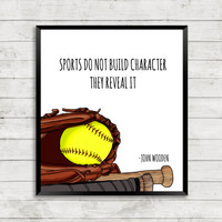 Baseball Art Print, Softball Art Print, Quote Art