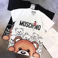''MOSCHINO''  Women Fashion Short Sleeve Pure cotton Print Round collar Top