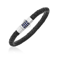 Sterling Silver Braided Leather Bracelet with Blue Sapphires