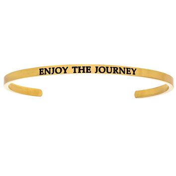 """Intuitions """"Enjoy the Journey"""" Yellow Stainless Steel Cuff Bangle Bracelet"""
