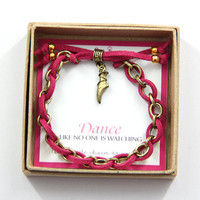 "Dance ""Ballet Toe Shoes"" Charm Bracelet in Gift Box"