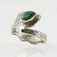 Emerald Two Tone Sterling Silver Adjustable Ring