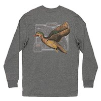 Long Sleeve Vintage Decoy Wood Duck Tee in Midnight Gray by Southern Marsh