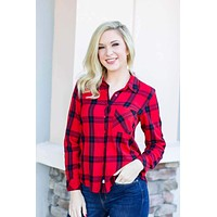 Time For Plaid Top - Red