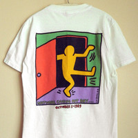 Rare Original Vintage 1988 Keith Haring National Coming Out Day Logo T-Shirt S / M