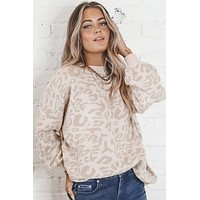 Winter Wild Taupe Leopard Print Sweater