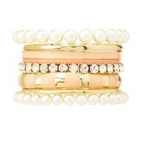 Pearl, Enamel & Jewel Bangles - 8 Pack - Pale Peach