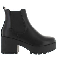Coolway Irby - Black Leather Dual Gore Pull-On Chunky Platform Bootie