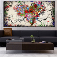 DP ARTISAN Modern wall art heart flowers  oil painting Prints Painting on canvas No frame  Pictures Decor For Living Room