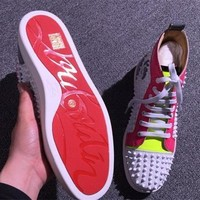 Christian Louboutin CL Louis Spikes Style #1887 Sneakers Fashion Shoes Best Deal Online
