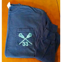 Long Sleeve Comfort Colors Lacrosse Pocket Tee With Number