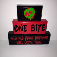 One Bite and All Your Dreams Will Come True Wood Stacking Blocks Painted with Decals Snow White and the Seven Dwarfs Black Red and Green