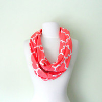 Coral and White Moroccan Jersey Knit  Infinity Scarf-Double Wrap, Long, Different Ways to Wear, Trendy and Modern