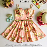 Floral Multi Color Bustier Dress with Adjustable Straps Size S/M - BD2202 - Smoky Mountain Boutique