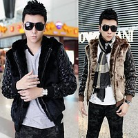 2013 winter new Korean men rabbit fur warm leather coat fashion men's stitching hooded fur jacket free shipping H1836