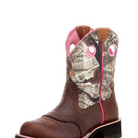 Women's Fatbaby Cowgirl Boot - Distressed Brown/Mossy Oak