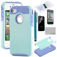 4S Case,iPhone 4S Case ,iPhone 4 Case,ULAK [ Colorful Series ] Dual Layer Hybrid Slim Hard Case for iPhone 4S & iPhone 4 with Hard PC Cover and Soft Inner TPU (Light Blue/Purple)