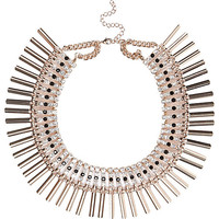 River Island Womens Gold tone encrusted collar necklace