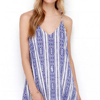 Calm Waters Cream and Blue Print Dress