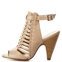 Strappy Huarache Slingback Heels by Charlotte Russe - Taupe
