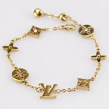 LV Louis Vuitton Stylish Women Simple Hand Catenary Bracelet Jewelry Accessories Golden