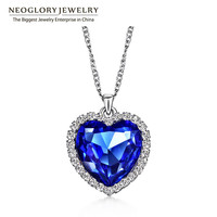 Neoglory Crystals Titanic Heart  Ocean Love Necklaces & Pendants for Women Fashion Jewelry Birthday Best Friends Gifts 2016 He1