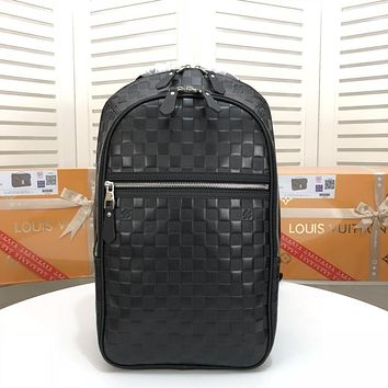 LV Louis Vuitton Damier Graphite LEATHER Michael BACKPACK BAG