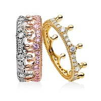 100% 925 Sterling Silver Mixed Metals Enchanted Crown Ring Stack For Women Wedding Engagement Party Gift Fine Pandora Jewelry