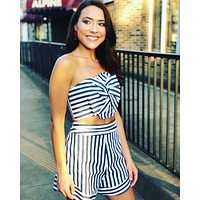 Stripe High Waisted Short