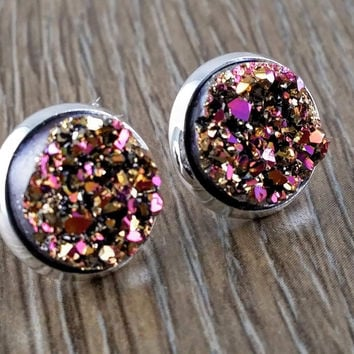 Druzy earrings- magenta gold drusy silver tone stud druzy earrings
