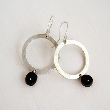Ebony and Sterling Silver Big Circle Earrings - Black and Silver Round Earrings - Wood Original Contemporary Earrings - Contemporary Jewelry