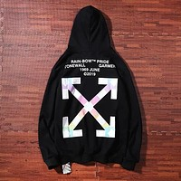 Off White Fashion New Multicolor Arrow Print Women Men  Hooded Long Sleeve Sweater Black