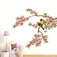 Hot New DIY Wall Decal Peach Tree Branches Love Birds Removable Sticker Bedroom Art Home Decor High Quality Adesivo De Parede