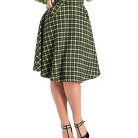 Voodoo Vixen Green Wool Dots Flair Skirt