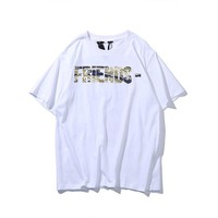 VLONE LIFE spring and summer men's shirts Europe and the United States tide brand fashion big V printing personality T-shirt men and women with the same paragraph cotton short sleeve