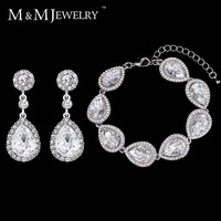 Minmin 4 Colors Jewelry Sets Hot Selling Bridal Round Long Earrings with Bracelet for Women Wedding Accessories EH070+SL051