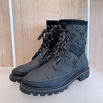 lv louis vuitton trending womens men leather side zip lace up ankle boots shoes high boots 106