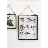 """Hanging Pressed Glass Floating Frame - 10.5"""" Tall x 8"""" Wide"""