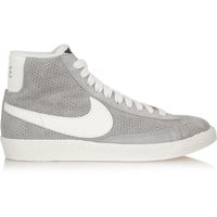 Nike - Blazer perforated suede high-top sneakers
