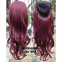 """HOT 3/4 Half Long Curly Wavy Wig Heat Resistant Synthetic Wig Hair 200g 24"""" Highlighted Curly Wig Hairpieces with Comb Wig Hair GS-TFA888 99J"""