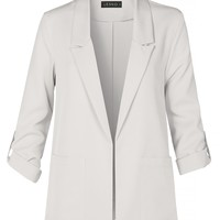 Casual Open Front Collared Blazer Jacket with Roll Up Sleeves And Pockets (CLEARANCE)